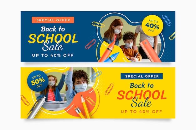 Banner di vendita orizzontali realistici per il ritorno a scuola con foto