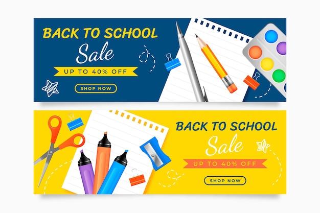 Realistic back to school horizontal sale banners set
