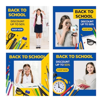 Realistic back to school instagram posts collection with photo