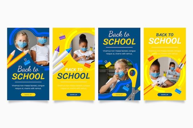 Raccolta realistica di storie di instagram di ritorno a scuola con foto