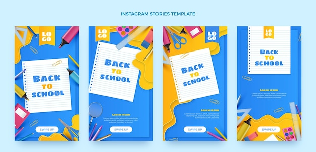 Realistic back to school instagram stories collection