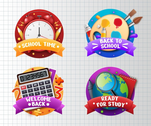 Collezione di etichette realistiche per il ritorno a scuola