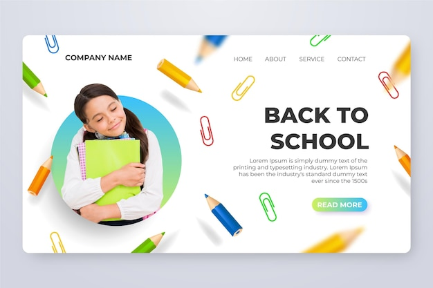 Realistic back to school landing page template with photo
