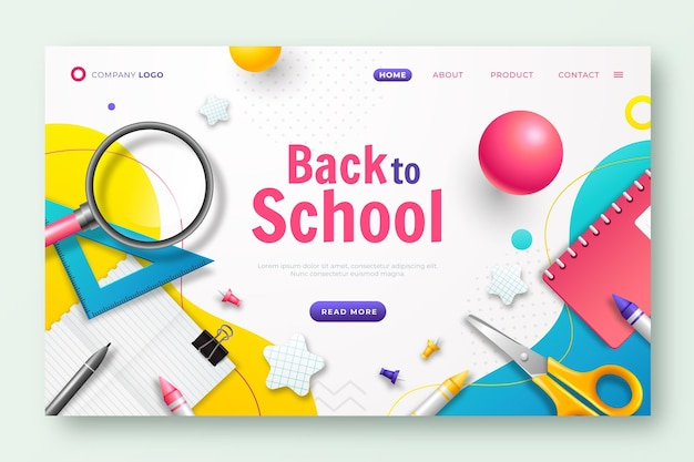 Modello di pagina di destinazione realistico per il ritorno a scuola