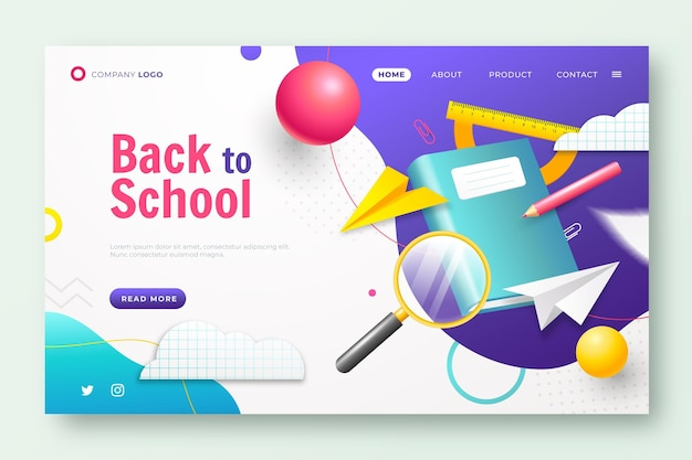 Realistic back to school landing page template