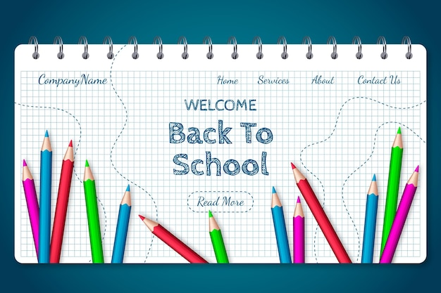Realistic back to school landing page template Free Vector
