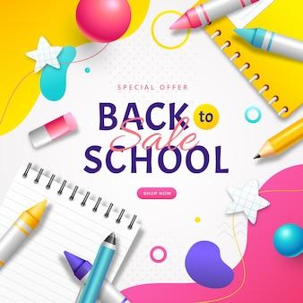 Sfondo realistico di vendita di ritorno a scuola