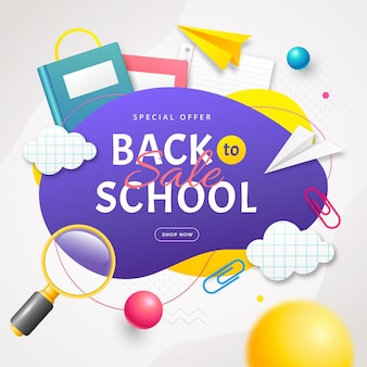 Realistic back to school sale background