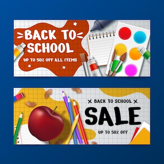 Banner di vendita di ritorno a scuola realistici con foto