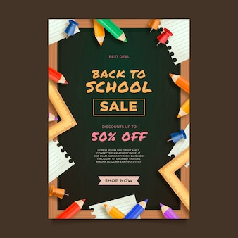 Realistic back to school sale vertical poster template