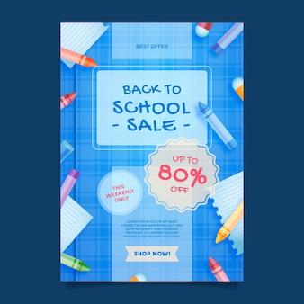 Modello realistico di poster verticale di vendita di ritorno a scuola