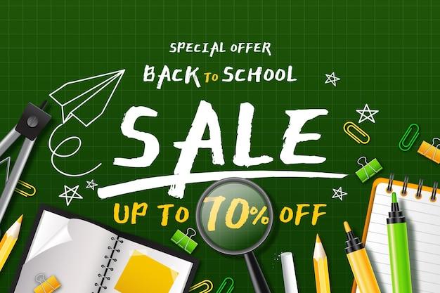 Sfondo realistico delle vendite di ritorno a scuola