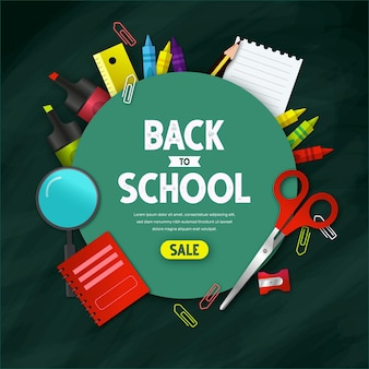 Realistic back to school sales banner