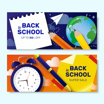 Realistic back to school sales banners