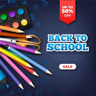 Realistic back to school sales square banner