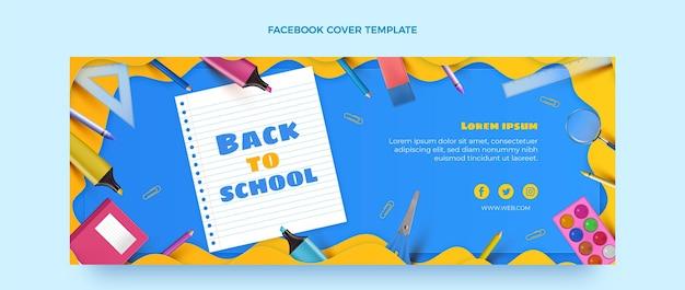 Modello di copertina per social media realistico per il ritorno a scuola