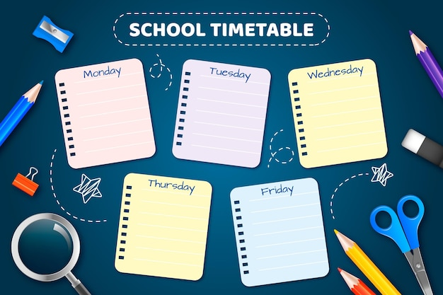 Realistic back to school timetable template