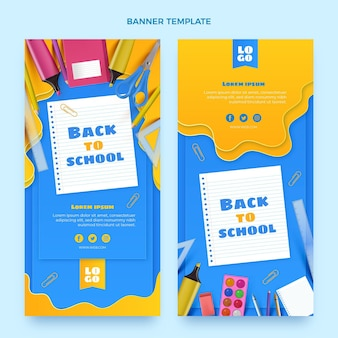 Realistic back to school vertical banners set