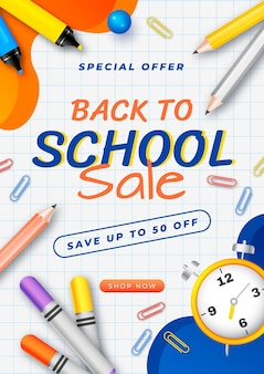 Realistic back to school vertical flyer template