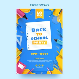 Realistic back to school vertical poster template