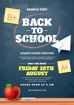 Realistic back to school vertical sale flyer template
