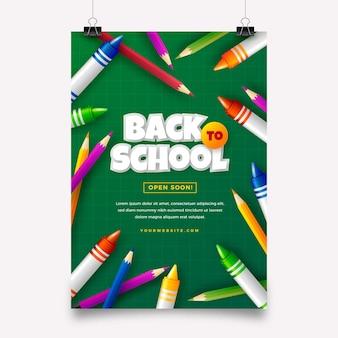 Modello di volantino di vendita verticale realistico per il ritorno a scuola