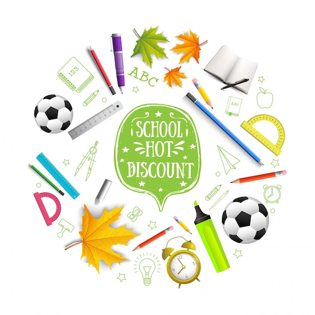 Реалистичная композиция обратно в школу с укушенными красочными карандашами кленовые листья книга маркер ручка футбольный мяч будильник правителей изолированных