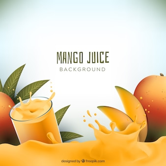 Realistic background of mango juice