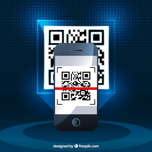 Realistic background of mobile phone with qr code