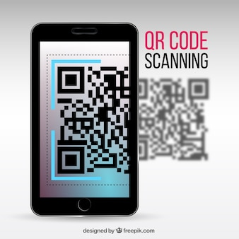 Realistic background of mobile scanning qr code