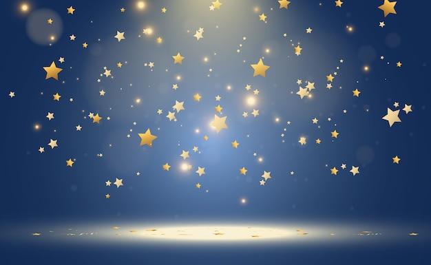 明るい金色の星のリアルな背景