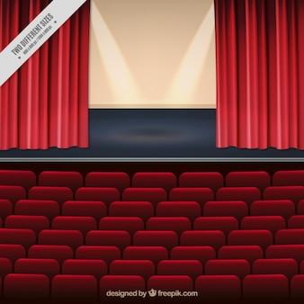 劇場の舞台のリアルな背景