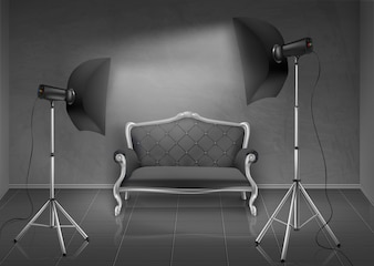 Realistic background, room with gray wall and floor, photo studio with empty sofa, couch