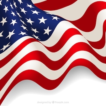 Realistic background of wavy american flag