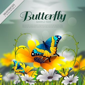 Realistic background with awesome butterflies