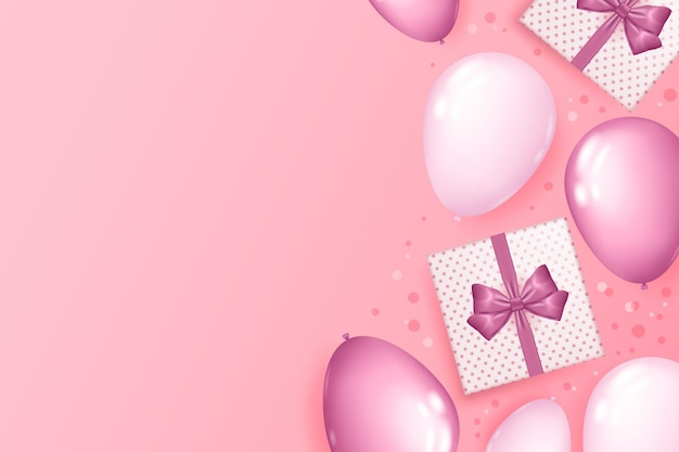 Реалистичный фон с воздушными шарами и подарками