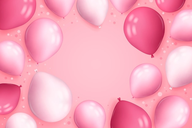 Realistic background with balloons and confetti