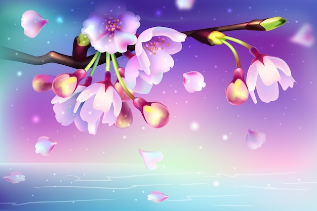 Realistic background with beautiful flowers
