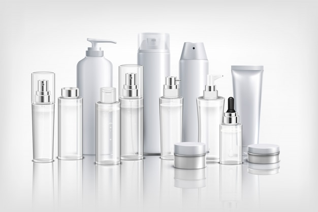 Реалистичная фон с коллекцией различных косметических контейнеров, туб и банок для сливочного масла и бальзама