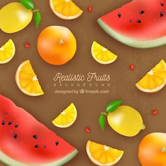 Реалистичный фон с восхитительными фруктами