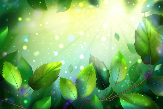 Realistic background with green leaves