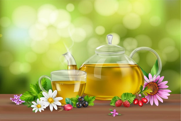 Realistic background with green tea in cup and pot herbs flowers and berries on wooden surface
