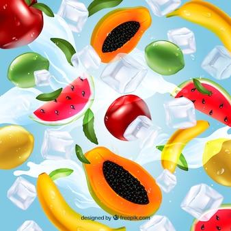 Реалистичный фон со льдом и ингредиентами