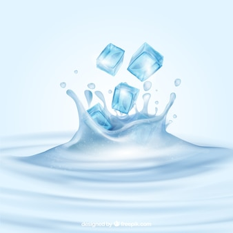 Realistic background with ice cubes and water splash
