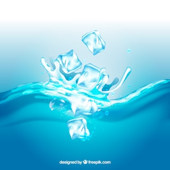 Realistic background with ice cubes and splashing water