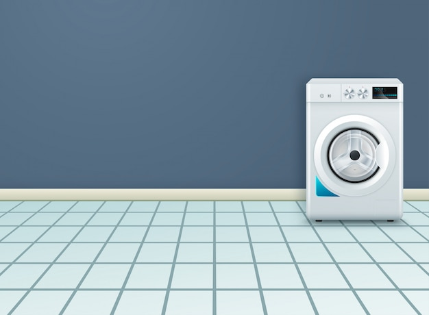 Realistic background with modern washing machine in empty laundry room