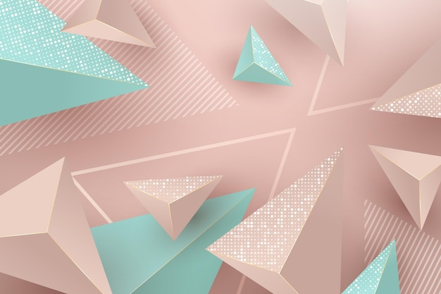 Realistic background with pink and green triangles