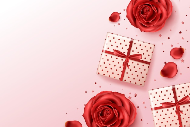 Realistic background with red roses and presents