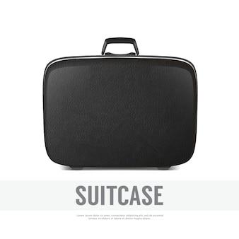 レトロなビンテージレザーブラックスーツケースのクローズアップと現実的な背景。テンプレート、クリップアート、グラフィック、ブランディング、広告用。側面図