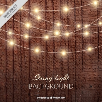 Realistic background with string lights